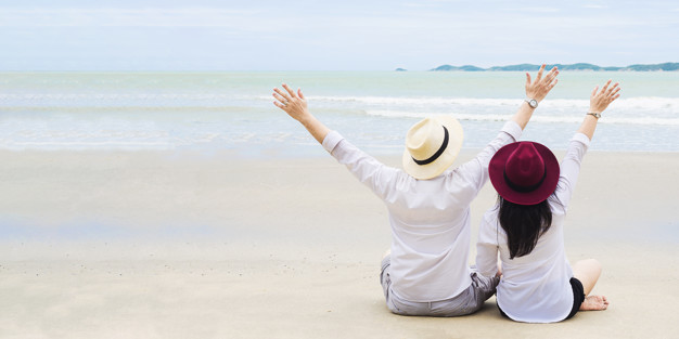 Asian couple on beach
